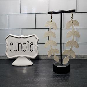 Handmade Pearly White Vine Leaf Earrings